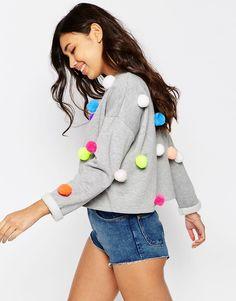Image 1 ofASOS Multi Pom Pom Sweatshirt