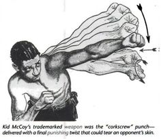 """Old school boxing technique: The 'Corkscrew' Punch. This is explained in Jack Dempsey's """"Championship Fighting"""""""