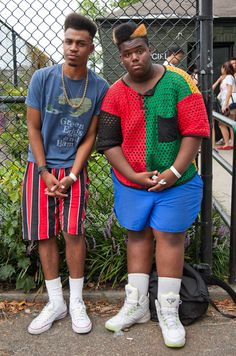 "Kashif (left), 20, lives in Brentwood, Long Island, and calls Michael Jackson his style inspiration. He most anticipated Erykah Badu's set at AfroPunk. Kareem (right), 17, is a Brooklynite who culls influence from Kwame, Big Daddy Kane, Heavy D and ""Will from Fresh Prince of Bel Air, the 1991-1992 seasons."" 