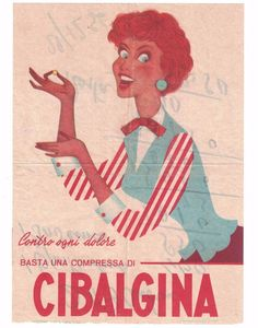 Pubblicità Cibalgina anno 1956 advertising reklame