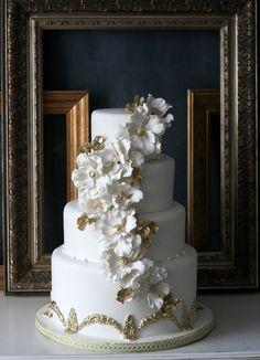 White and Gold Wedding Cake - Hydrangeas and Peonies