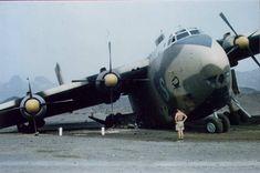Blackburn Beverley XM106 in contact with a Mk 7 mine : Habilayn Airfield : Aden 1967. Photo courtesy of Ian Berry and Gordon Gourdie RAF