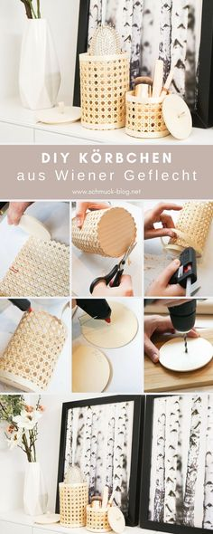 DIY Körbchen aus Wiener Geflecht basteln Make pretty pretty DIY baskets made of Viennese wicker for your bathroom or office. Ideal for cosmetics, make-up, pens [. Home Decor Baskets, Basket Decoration, Upcycled Home Decor, Handmade Home Decor, Diy Home Crafts, Diy Crafts To Sell, Diy Basket, Gifts For Tech Lovers, Diy Jewelry To Sell