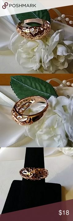 Rose Gold Plated Ring Open work design...18KT rose gold plated...new Jewelry Rings