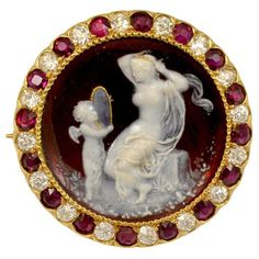 Tiffany & Co. Red Enameled Venus and Cupid Cameo Ruby Diamond Pin, 1890's-1910's