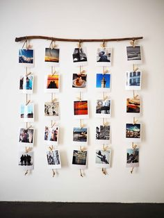 A wooden branch for hanging Polaroids, a decorative DIY canon! - P H O T O - Deco Home Photo Polaroid, Polaroid Wall, Polaroid Display, Polaroid Pictures Display, Polaroid Crafts, Hang Pictures, Instax Wall, Polaroid Decoration, Display Photos