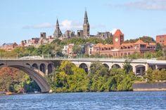 Key Bridge Potomac River Georgetown University Washington DC from Roosevelt Island Stock Photo