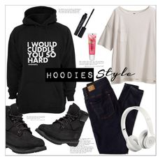 """""""Winter Layering: Hot Hoodies"""" by mycherryblossom ❤ liked on Polyvore featuring Uniqlo, Timberland, American Eagle Outfitters, Smashbox, Beats by Dr. Dre, Maybelline, women's clothing, women's fashion, women and female"""