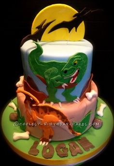 I am a huge fan of dinosaurs. For this cake I was given choices. The little boy likes dinosaurs, cars, and Elmo. In all honesty, I didn't hear anythin...