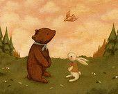 Children's Art - A Little Bird Told Me Print 7x5 / 8x6 - Nursery Art, Baby Art, Cute, Bear, Bunny, Bird, Forest, Pink, Kids Art, Cream, Pink