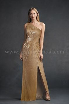 Jasmine Bridal | Belsoie Style L194062 in Gold | Sequin | One-Shoulder | Side Slit | Old Hollywood Glam Look