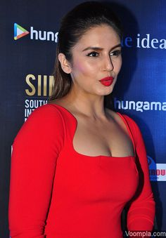 Ravishing in red! Huma Qureshi sizzles in a cleavage baring red Gauri and Nainika dress. via Voompla.com