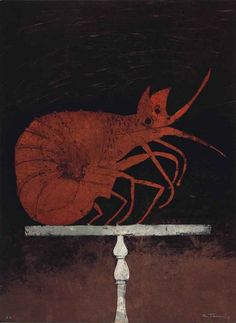 'Langosta' (1973) by Mexican artist Rufino Tamayo (1899-1991). Lithograph, edition of 75, 29.75 x 22 in. via Mutual Art
