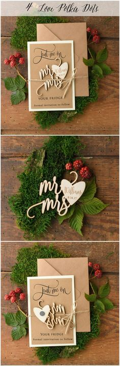 Mr & Mrs Wedding Save the Date card with wooden magnet – a great reminder for your guests ! #weddingideas #savethedate