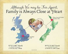Christmas Present for Family, Long Distance Present for Parents, Moving Away Gift, Family Quote, New Zealand Map Art, UK Map Print