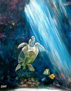 Sea turtle paintng on x canvas board, seascape original acrylic painting, unframed office art, wall decor art on canvas, home decor by ThisArtToBeYours on Etsy Sea Turtle Art, Canvas Board, Seascape Paintings, Office Art, Pictures To Paint, Turtles, Wall Art Decor, Art Pieces, Workshop