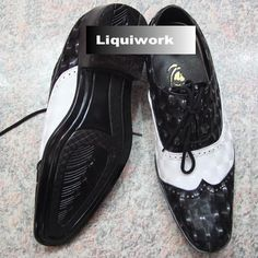 Men Black and White Patent Leather Wedding Prom Dress Brogue Shoes SKU-1100057