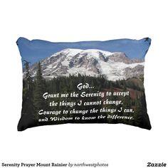 Serenity Prayer Mount Rainier Accent Pillow