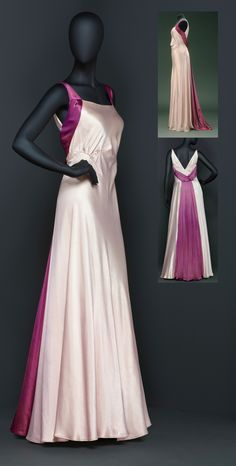 Long dinner dress, belonging to Princess Sibylla, Duchess of Västerbotten, 1930s. Full-length, form-fitting sleeveless dress of white duchesse tinged with pink; purple silk straps that come together at the back to continue as a panel; bust pleats.  Livrustkammaren (The Royal Armory) / Erik Lernestål.