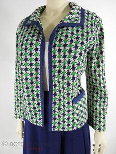 60s Navy Blue & Green Houndstooth Jacket large by BeeDeeVintage, $45.00 https://www.etsy.com/listing/127850888/60s-navy-blue-and-green-houndstooth