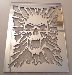 Skull Mirror, Shatterproof LASERCUT Stencil, Acrylic Mirror, Bedroom NEW From what I can half way figure conversion is about 20 bucks American Skull Stencil, Stencil Art, Skull Art, Skull Furniture, Mirrors For Sale, Acrylic Mirror, Skull Decor, Scroll Saw Patterns, Craft Ideas