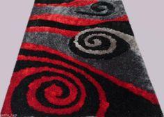Shag Shaggy Modern Black Red Grey 8x11 Area Rug Actual Size 7'6 x10´5
