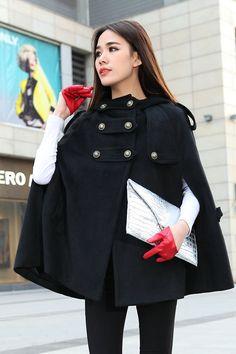 Black cape, wool cape, plus size cape, wool cloak, womens cape ...