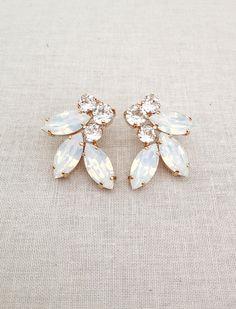 White Opal Swarovski crystal earrings, bridal earrings, white wedding earrings, bridesmaid gift, white wedding jewelry, white Cream Earrings, Blue Earrings, Star Earrings, Dangle Earrings, Swarovski Crystal Earrings, Crystal Bracelets, Rhinestone Earrings, Bridal Bracelet, Wedding Jewelry