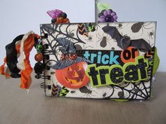 "Halloween Premade Mini Brag Scrapbook Album ""Trick-Or-Treat""  Not Paper Bag"