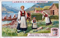 Old Norwegian costumes.  Hardanger and everyday dress..  Trading card issued by Liebig Extract of Beef Company.  Year unknown, Series No. unknown.