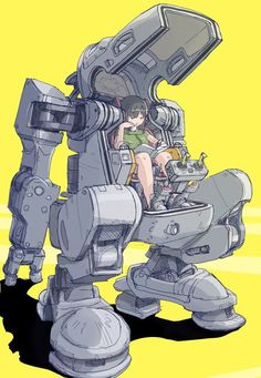 Do sexy lady lounging with legs sticking out or crossed. Sexy or casual tomboy. adore how she is just casually sitting in her mech here, it also is so well designed too ahhh! Character Concept, Character Art, Arte Peculiar, Mecha Suit, Arte Robot, Robot Concept Art, Mecha Anime, Robot Design, Sci Fi Characters