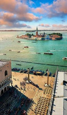 Arial view form St Marks Campinale, Venice Italy