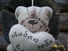 """Льняной мишутка """"Люблю тебя всем сердцем!"""".Подарок!!! - бежевый,мишка"""