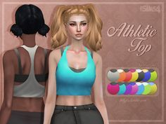 Here is a quick mesh edit of the hidden Athletic Lifter outfit - it is an athletic top now! I included all the EA colours and added a few more! Found in TSR Category 'Sims 4 Female Athletic'