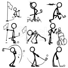 Stick Figure People Playing Golf royalty-free stock vector art