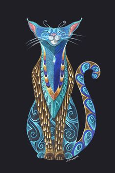 Cat Totem Art Print by Jennifer Hawkyard, Perfect Gift for Cat Lovers, Featuring Blue Siamese Cat Cat Lover Gifts, Cat Gifts, Cat Lovers, Cat Character, Colorful Animals, Cat Cards, Color Pencil Art, Blue Cats, Siamese Cats