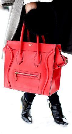 I like this red Celine handbag! www.missKrizia.com