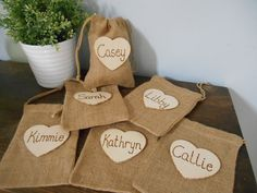 Rustic Personalized Bridesmaid Gift Bags Jewelry Keepsake Gift Burlap Bags Chalkboard or Wood Tag You Personalize