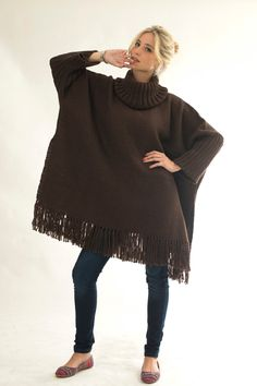 Turtleneck Poncho handwoven, Plus size wool cape coat, Chocolate sweater Wrap, Autumn gift, Outerwear in merino wool by Texturable by texturable on Etsy