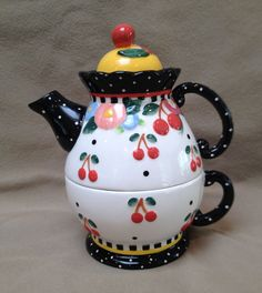 Mary Engelbreit Cherries Ceramic Tea for One Teapot with Cup - EUC:)