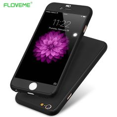 FLOVEME For iPhone 6 6S Case Full Body 360 Luxury Clear Glass Screen Protector PC Cover For iPhone 6 6S Plus iPhone 7 Plus Cases