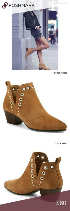 """NWOT *Sam Edelman* Rubin Suede Bootie NWOT *Sam Edelman* Rubin tan suede bootie. Polished grommet hardware along the topline enhances the utilitarian edge of a pointy-toe bootie set on a sturdy block heel.  Appx 2"""" heel; 3 1/2"""" shaft.  Pull-on style.  Leather upper.  NWOT, store display model so they have been handled and tried on.  Residue on soles from store stickers & minor scuff on back left heel.  Otherwise excellent condition.  Natural suede variations.  Tan with gold colored hardware…"""
