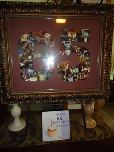 My co-worker did this for me for my mom's 65th birthday, and framed it - we presented it to her at her birthday party and it was all anyone could talk about. I made sure to include old and new pictures. It was great...
