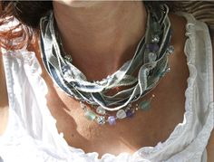 Creative denim Necklace Ideas from We Upcycle Fiber Art Jewelry, Jewelry Art, Unique Jewelry, Jewelry Ideas, Multi Strand Necklace, Beaded Necklace, Necklaces, Denim Ideas, Metal Clay Jewelry