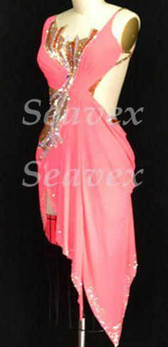 Sexy Ballroom Latin Cha Cha Ramba Samba Dance Dress US 8 UK 10 Gold Pink Color | eBay