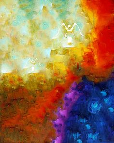 Angels Among Us - Emotive Spiritual Healing Art by Sharon Cummings.