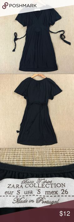 """ZARA Dress Basic T-Shirt Zara Collection Black S ZARA Dress Basic T-Shirt Zara Collection Black S. Really cute and comfortable dress. Excellent condition. 15"""" armpit to armpit. 30"""" base of neck to hem. Zara Dresses Midi"""