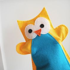 Yellow and Blue Owl Hand Puppet for Small Hand by Mariapalito