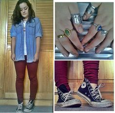 DENIM, BURGUNDY, CHUCKS... and lotta my rings! (by Roxy Aedo) http://lookbook.nu/look/4758525-Passport-Denim-Vintage-Shirt-Sybilla-Burgundy