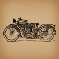 Classic Motorcycle Art Vintage Artwork Wall by SparrowHousePrints